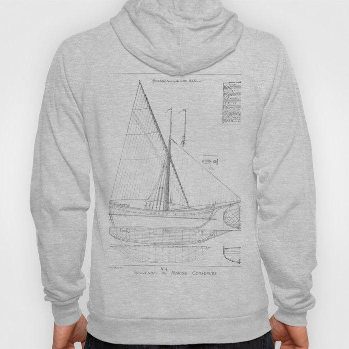 Vintage black & white sailboat blueprint drawing antique nautical beach or lake house preppy decor Hoody