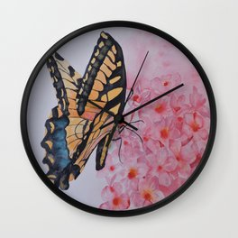 Butterfly and the Phlox Wall Clock