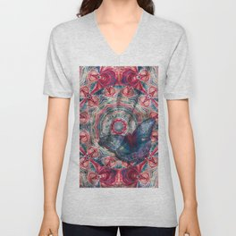 Luminous camouflaged butterfly Unisex V-Neck