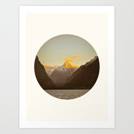 MidCentury Modern Circle Photo Parallax Mountains Distant Snow Capped Mountain With Yellow Tip Art Print