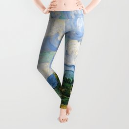 Wheat Field with Cypresses by Vincent van Gogh Leggings