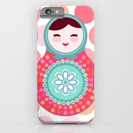 doll matryoshka, pink and blue, pink polka dot background iPhone Case