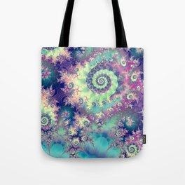 Violet Teal Sea Shells, Abstract Underwater Forest  Tote Bag