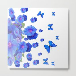 BABY BLUE ART BLUE BUTTERFLIES & MORNING GLORIES Metal Print