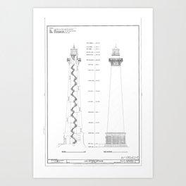 Blueprint art prints society6 vintage cape hatteras lighthouse blueprint art print malvernweather Images