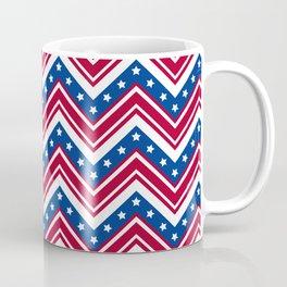 Red White and Blue Zigzag Stripes Coffee Mug