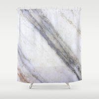 white marble Shower Curtains featuring Marble by Santo Sagese