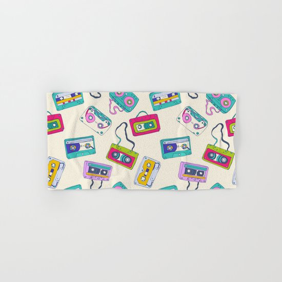 Vintage Cassette Tape Pattern Hand & Bath Towel