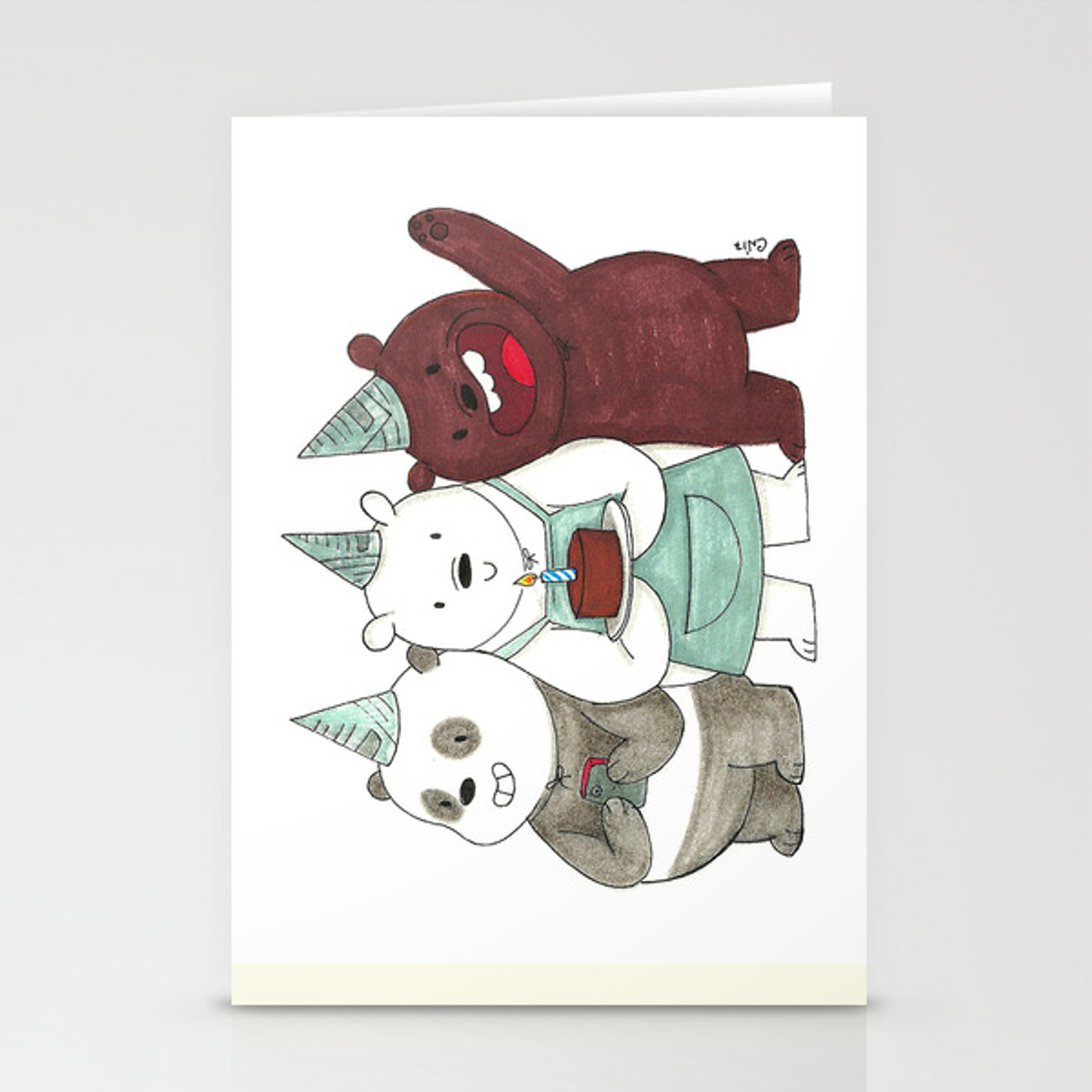 We Bare Bears Inspired Birthday Party Panda Ice Bear Grizzly Bear Stationery Cards By Conshillustration Society6