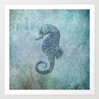 sea horse Art Prints featuring sea & horse by Steffi Louis