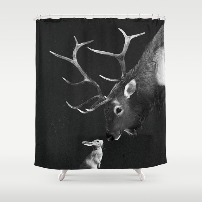 Elk And Rabbit Shower Curtain