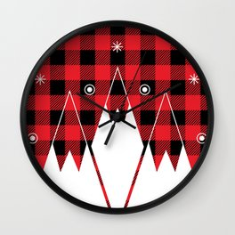 Red Buffalo Plaid Mountains Wall Clock