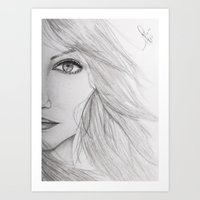 emma stone Art Prints featuring Emma Stone Drawing by Olivia Scotton