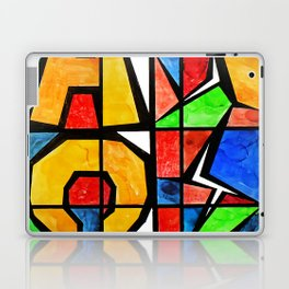 Qubism, Alpha, Omega, stained glass, abstract, square, revelation, bible, Jesus, Christ Laptop & iPad Skin