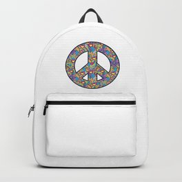 Freedom Calmness Goodwill Friendship Unity Love Floral Peace Sign Harmony Gift Backpack