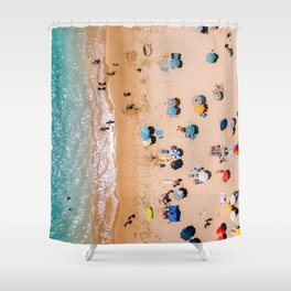 People On Algarve Beach In Portugal, Drone Photography, Aerial Photo, Ocean Wall Art Print Shower Curtain