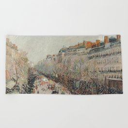 Mardi Gras on Monmartre Boulevard in Paris by Camille Pissarro Beach Towel