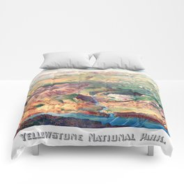 YELLOWSTONE WYOMING IDAHO city old map Father Day art print poster Comforters