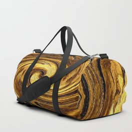 Gold Brown Abstract Sun Rotation Pattern Duffle Bag