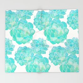 Rosette Succulents – Turquoise Palette Throw Blanket