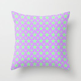 Green Star Pattern on Purple Throw Pillow