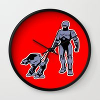robocop Wall Clocks featuring Robocop by dutyfreak
