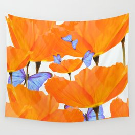 Poppies And Butterflies White Background #decor #society6 #buyart Wall Tapestry