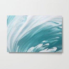 Turquoise Blue Wave Paintig Metal Print