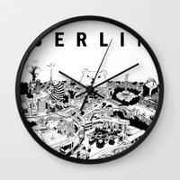 berlin Wall Clocks featuring Berlin by Javier Medellin Puyou aka Jilipollo