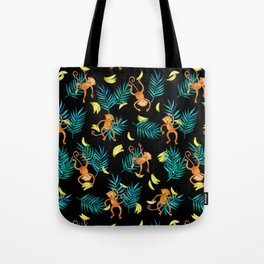 Tropical Monkey Banana Bonanza on Black Tote Bag