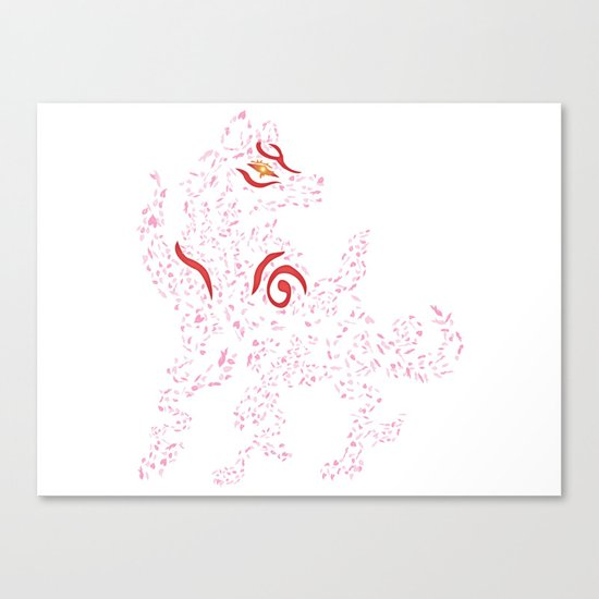 Okami Amaterasu - Cherry Blossom Form [WHITE] Canvas Print