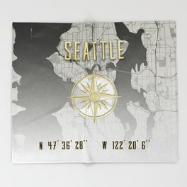 Seattle - Vintage Map and Location Throw Blanket