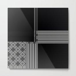 Multiple Black White Geometric Patterns Metal Print