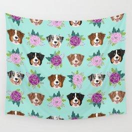 Australian Shepherd dog breed dog faces cute floral dog pattern Wall Tapestry