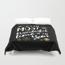 It's the Most Wonderful Time of the Year - Black Duvet Cover