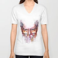 fear V-neck T-shirts featuring Fear by Larazzy