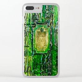 Emerald Green Key Textured Design Clear iPhone Case