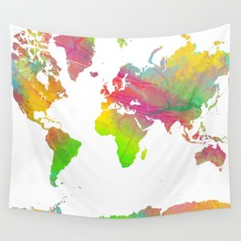 World Map - Watercolor 9 Wall Tapestry