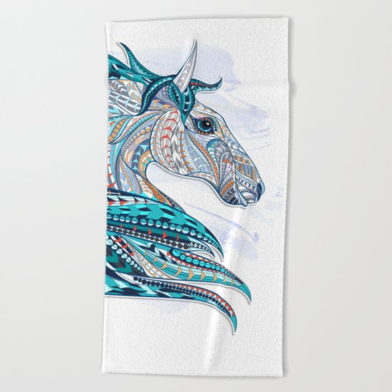 Blue Ethnic Horse Beach Towel