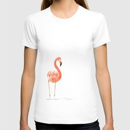 """""""Just Peachy"""" - 5"""" x 7"""" acrylic painting of a Flamingo by Teresa Thompson T-shirt"""