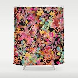 watercolor meadow black Shower Curtain