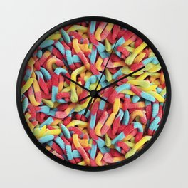 Neon Sour Gummy Worms Photo Pattern Wall Clock