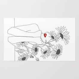 Minimal Line Art Girl with Sunflowers Rug