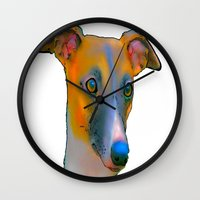 greyhound Wall Clocks featuring Greyhound by Marlene Watson