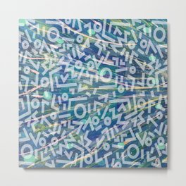 Blue Street Art Pattern over Original Painting Metal Print