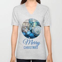Blue  festive Christmas decoration Unisex V-Neck