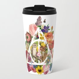 Floral Deathly Hallows Owl and Stag - White Travel Mug