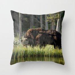 Morning kiss and (brown) bear hug Throw Pillow