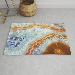 Crystalized Purple & Clear Quartz Slab with Orange Rust Rug