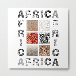 Africa - background with text and texture wild animal Metal Print